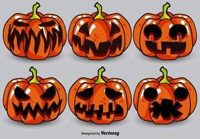 Cartoon Jack-o-Lanterns Vector Set