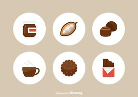 Iconos libres del vector del chocolate plano