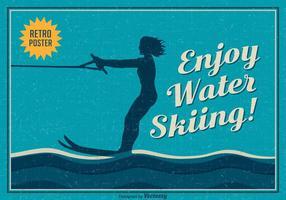 Libere el cartel del vector del esquí acuático