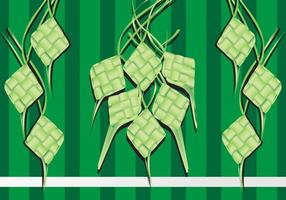 Illustration of Ketupat Rice Dumpling on Green Background