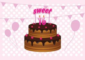 Sweet 16 Birthday Cake Illustration