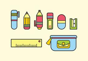 Flat Design Stationary Vector