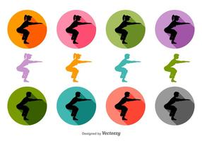 Squat Vector Silhouetten