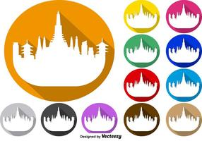 Vector Set von bunten Buttons von Bangkok Skyline Icon