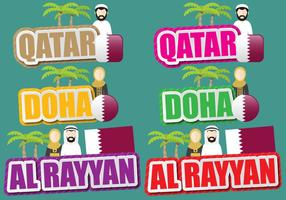 Qatar And Doha Titles vector