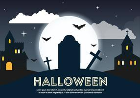 Scary Vector Halloween Graveyard