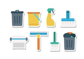 Keep Clean Sticker Icon Set