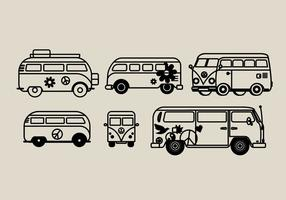 Hippie Bus Vector Illustrations