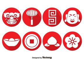 Chinese Culture Circle Icons Vector