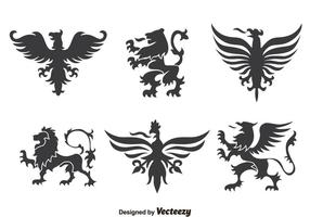 Heraldiek Ornament Inzameling Vector