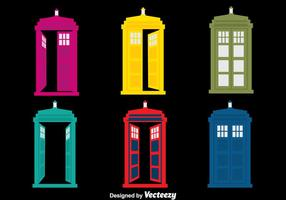 Colorful Police Boxes Vector