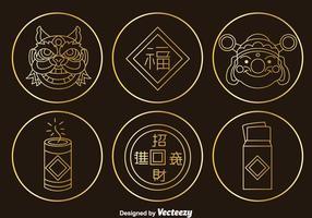Chinese Cultuur Element Gouden Pictogrammen Vector