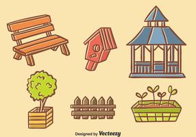 Handdragen Garden Element Vector