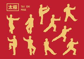 Tai Chi stelt silhouet vector