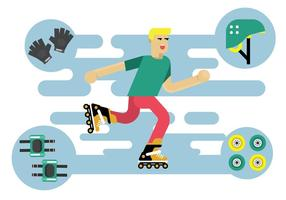 Free Illustration Character of Roller Blade Skater Vector