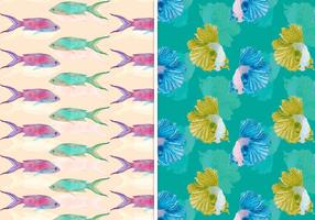 Vector Summer Seamless Fish Pattern