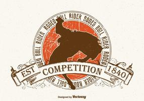 Free Bull Rider Vintage Vector Illustration