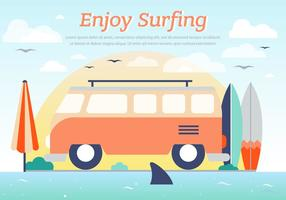 Hippie Bus Surfing Vector Background