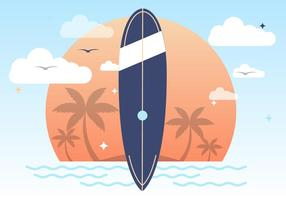 Coucher de soleil, été, surf, vecteur, fond