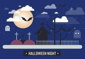 Free Spooky Halloween Night Vector Illustration