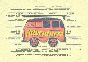 Free Vintage Adventures Van Vector Illustration