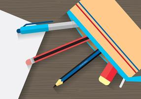 Stationary and Pencil Case Vector