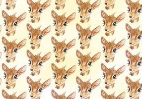 Vector Deer Watercolor Pattern