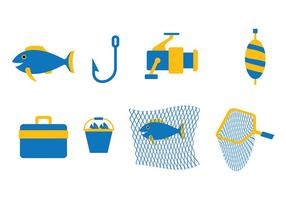 Blue Fishing Vector Set