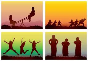 Children Playing Silhouette