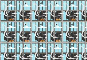 Fire and Broken Windows Pattern Vector