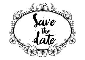 Hand Darwn Pansy Save The Date Vector do convite