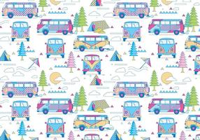 Hippie bus pattern vector