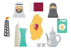Vecteur gratuit des icônes du Qatar