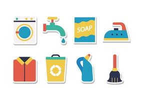 Free Housework Cleaning Sticker Icons vector