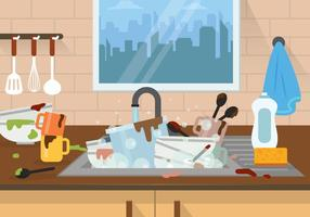 Gratis Dirty Dishes Illustration