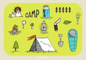 Dibujado a mano Camp Doodle Vectores