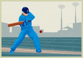 Cricket Player Hitting The Ball vector