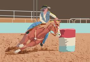 Hombre vectorial en Barrel Racing vector