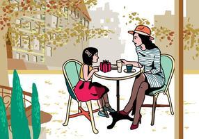 Mãe e criança comendo em conjunto Vector