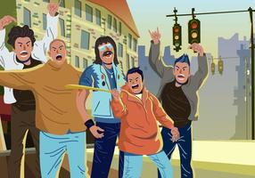 Vecteur hooligans dans la rue