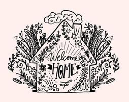 Desenho desenhado bem-vindo vector de letras em casa
