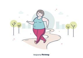 Fett kvinna jogging