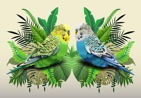 Green And Blue Budgie In Leaves vector