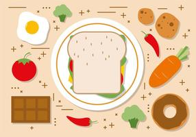 Illustration vectorielle Flat Sandwhich gratuite