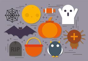 Icônes plates de Halloween de vecteur