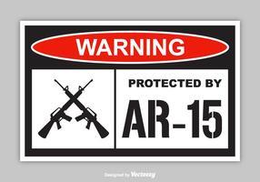Freie Warnung geschützt durch AR-15 Vektor Aufkleber