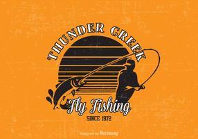 Disegno vettoriale di pesca a mosca libera