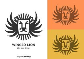 Flat Winged Lion Vector Logo