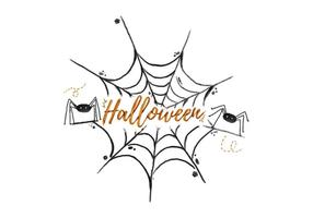 Spider Web Halloween Aquarela Vector