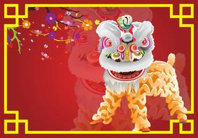 Lion Dance Card Background vector
